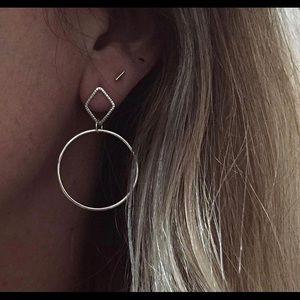 Brooke Hill Silver Hoop Diamond Shape Earrings